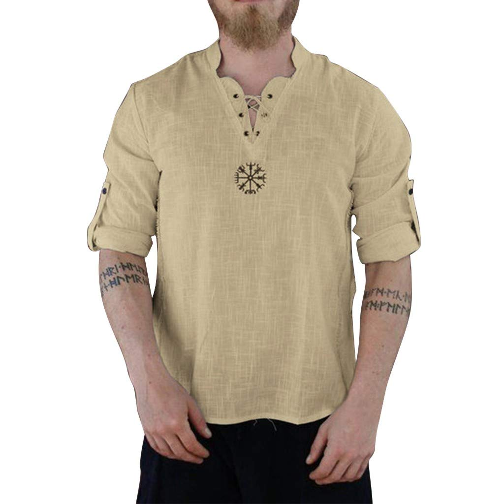 Mens Fashion Personality T Shirt Cotton Linen Tee Hippie Shirts Summer Long Sve Loose Beach Top Blouse Khaki