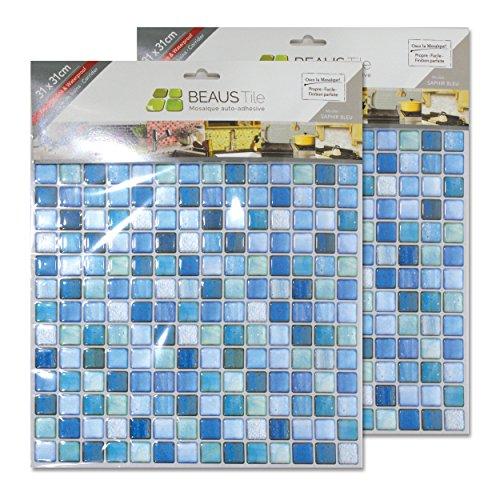 BEAUSTILE Decorative Tile Stickers Peel and Stick Backsplash Fire Retardant Tile Sheet (10pcs) (N.Blue) by BEAUS TILE (Image #5)