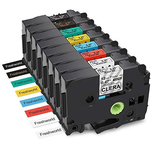 Replace TZ TZe 12mm 0.47 inch Standard Laminated Label Tape TZe-131 TZe-231 TZe-431 TZe-531 TZe-631 TZe-731 TZe-334 TZe-335,Compatible with Brother P-Touch PT-D210 PT-H110 PT-D600 PT-H100 PT-D400AD,8P