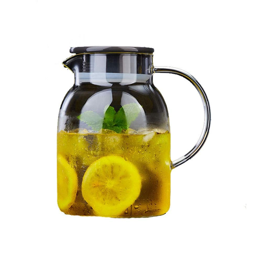 Heat-resistant explosion-proof glass kettle cold water bottle home cooler water bottle juice pot cold water cup large capacity flower teapot CHAJU (Size : 1.25l) by CHAJU