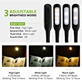 Pictek Book Light,3 Modes [Warm/White] 4 LED & Flexible Clip-on Rechargeable Reading Light, Bright and Small Size Reading Lamp with USB Cable