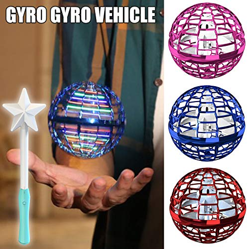 Keqin Flying Ball Toys, Globe Shape Mini Flying Toy with Star Shape Controller Great, Flynova Flying Spinner 360° Rotating Spinning LED Lights for Kids Adults Indoor Outdoor (Dark Blue)