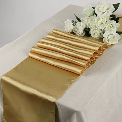 mds Pack Of 10 Wedding 12 x 108 inch Satin Table Runner For Wedding Banquet Decoration- Gold
