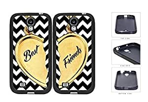 Best Friends Heart Charm Black And White Chevron Rubber Silicone TPU Cell Phone Case Samsung Galaxy S3 SIII I9300