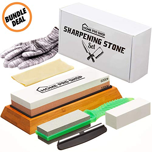 Sharpening Stone & Whetstone Bundle Set - Professional Japanese Sharpener Wet Stones for Knives, Axes and Hatchet Sharp Blades - Waterstone with 1000 6000 Grinder - Steel Knife Sharping Wetstones Kit
