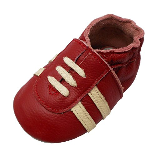 YIHAKIDS Baby Sneaker Genuine Leather Soft Suede Sole Toddler Shoes First Walker Moccasins Multi-Colors (4-4.5 US/0-6 MO./4.7in, - Shoes Leather Genuine Suede