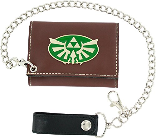Metal Badge Chain Wallet - Mens Bioworld Legend Of Zelda Triforce Metal Badge Tri-fold Chain Wallet
