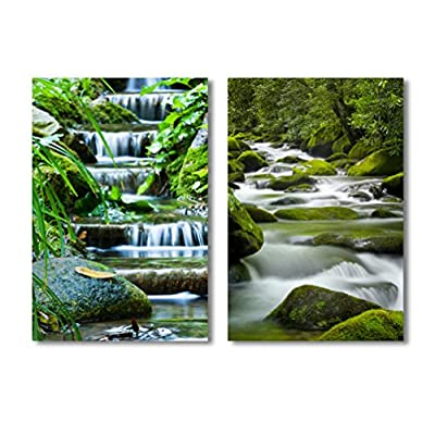 Beautiful Veil Cascading Waterfalls Mossy Rocks 2 Panel...