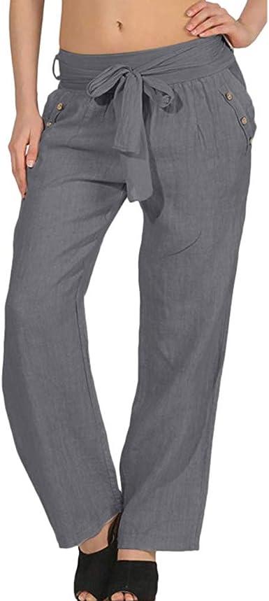 MOVERV Mujer Pantalones Baggy de Harén, Pantalones Palazzo de ...