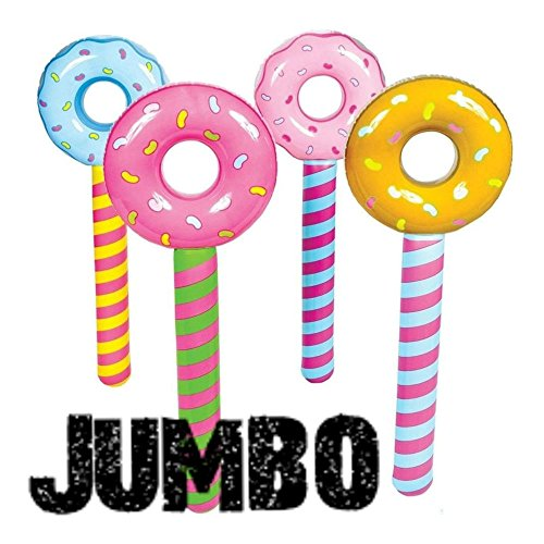 (4) JUMBO ~ Inflatable Donut Lollipop Wonka CANDYLAND Pool Float Party Novelty Items (Giant Lollipop Prop)