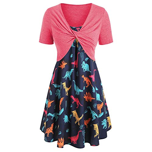 KCatsy Plus Size Dinosaur Print Ruffled Dress with Twist Top -