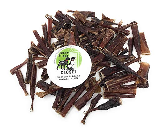 (Sancho & Lola's Crunchy Steer Bully Bites for Dogs Made in USA - Boutique Rawhide-Free Grain-Free Small Beef Pizzle Dog Chews for Small Dogs or Training Treats for Any Size Dog )