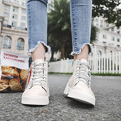 Cordones Botines Con Al Un Otoño Planos Para De Caminar Yan Invierno Botas Mujer Inglaterra Zapatos E Martin Aire Cubierta Libre q0Hvz