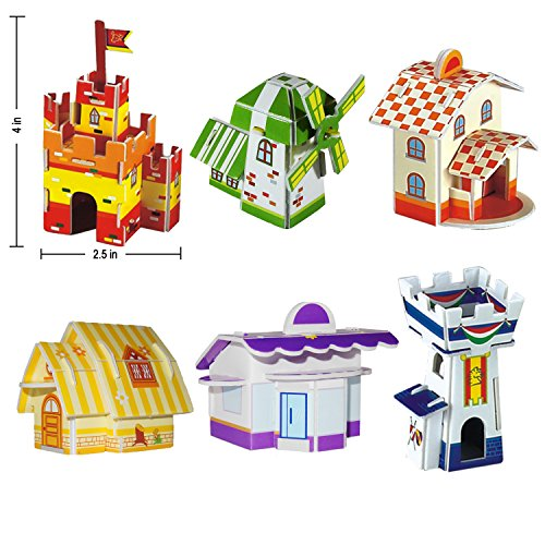 Creative-3D-Puzzle-Paper-Model-DIY-Fun-Educational-Toys-12-Hut-81-Pcs