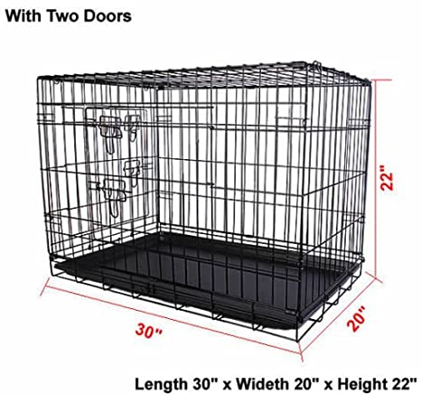 Costway - Jaula plegable para mascotas, alambre de 2 puertas, para ...