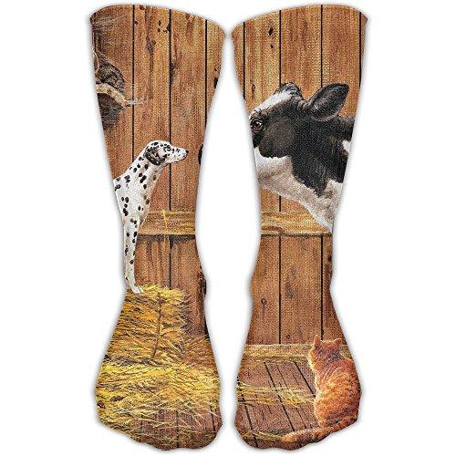 YUANSHAN Socks Farm Animals Cow Cat Hay Barn Dog Women & Men Socks Soccer Sock Sport Tube Stockings Length -