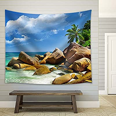 Wonderful Technique, Tropical Beach with Boulders and Palm Trees, With a Professional Touch