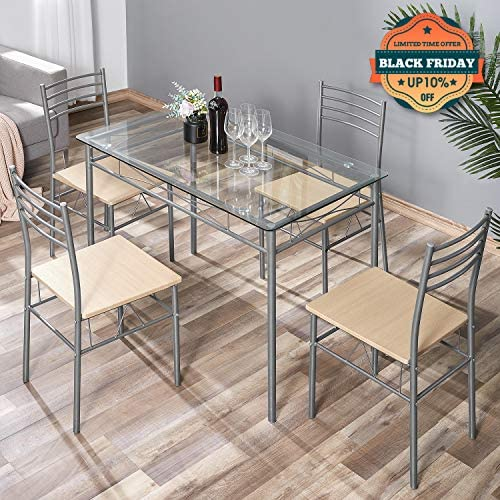 kealive Dining Table Set with 4 Chairs Tempered Glass Top Kitchen Table Set Rectangular Table Furniture, Metal Frame Modern Table Set for Dining Room, Kitchen, Breakroom, Silver