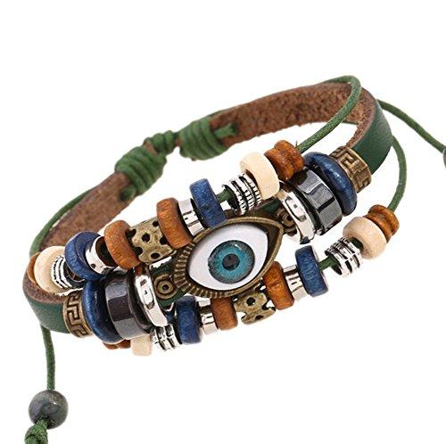 DELEY Unisex PU Leather Rope Beads Wrist Band Multi Strands Adjustable Evil Eye Wrap Bracelets Green