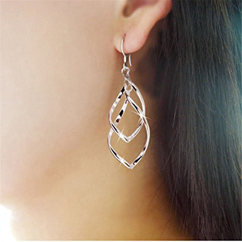 Hemlock Diamond Pendants Earings, Women Jewelry Silver Ear Stud Earrings Eardrop Ear Clip (Silver)