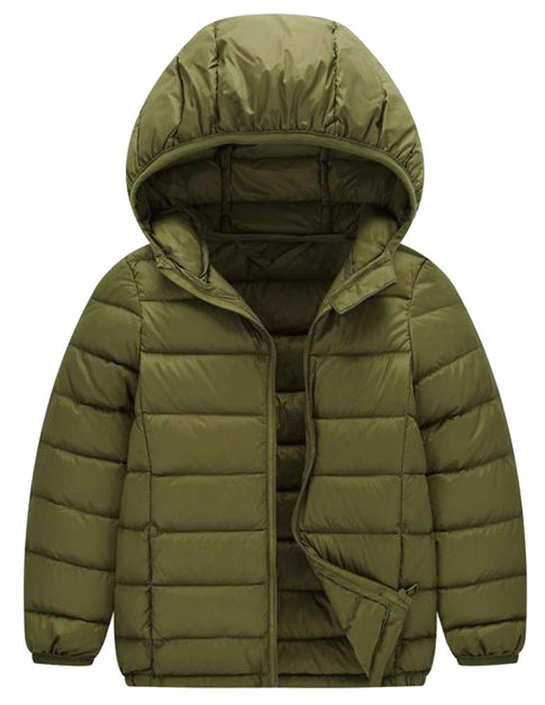 Etecredpow Boy's Hooded Lightweight Down Comfortably Portable Compression Jacket Parka Coat Army Green 10T