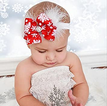 Ogquaton Baby Girls Rhinestone Headband Ribbon Hair Band White Stylish and Popular