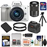 Canon EOS M50 Wi-Fi Digital ILC Camera & EF-M 15-45mm IS STM Lens (White) with 34GB Card + Lens + Tripod + Battery + Case + Cleaning Kit