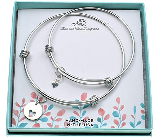 Mother Daughter bangle bracelets in silver stainless steel with sterling silver hearts. Mother and Daughter Sets.