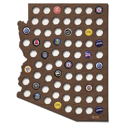 Arizona Beer Cap Map Wall Decor Gifts Bottle Beer Cap Holder Crafts 17.72 x - Cabinet Arizona Collection