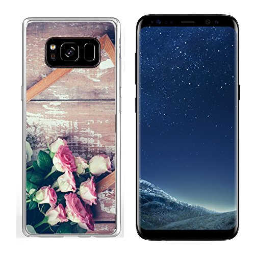 Luxlady Samsung Galaxy S8 Clear case Soft TPU Rubber Silicone IMAGE ID 31211338 Bouquet of pink roses and a wooden frame on old board background vintage color tinting ()