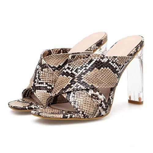 (Xinantime Women Stiletto Pumps Snakeskin Glass High Heels Sandals Summer Platform Slippers Shoes Brown)