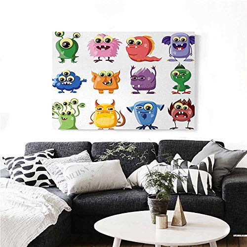 Funny Wall Paintings Animated Bacteria Aliens Theme Germ Whimsical Cartoon Monsters Humor Faces Graphic Print On Canvas for Wall Decor 24