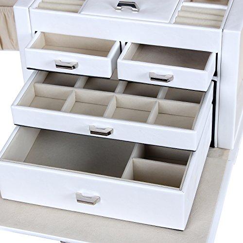 songmics 26 5 x 19 x 20 cm schmuckkoffer schmuckk stchen abschlie bar mit spiegel schublade. Black Bedroom Furniture Sets. Home Design Ideas