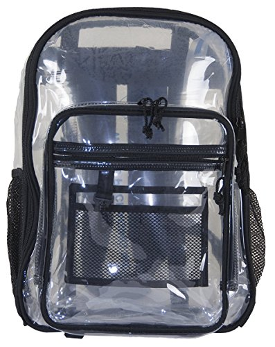 Amaro 16 inch Clear Backpack, Clear Bag, Clear Work Bag, Heavy Duty Clear BackPack, Transparent School Bookbag