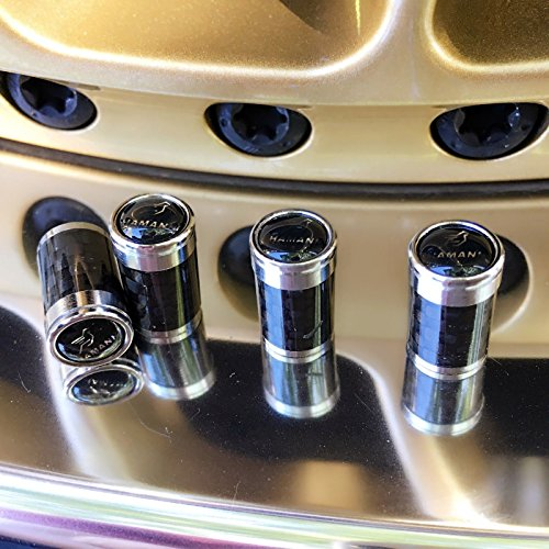 - Car Accessory Warehouse HAMANN 3K Carbon Fiber CF Tire Valve Stem Caps with Logo Emblem, Copper Sheet Backing Plate, Aluminum Construction Exclusive Product