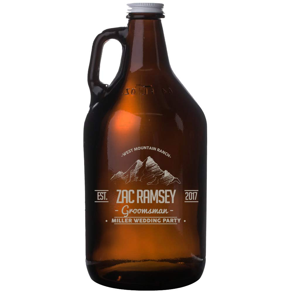 Personalized Etched 64oz Amber Beer Growler Groomsmen Gifts