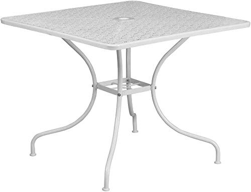 Flash Furniture Commercial Grade 35.5″ Square White Indoor-Outdoor Steel Patio Table