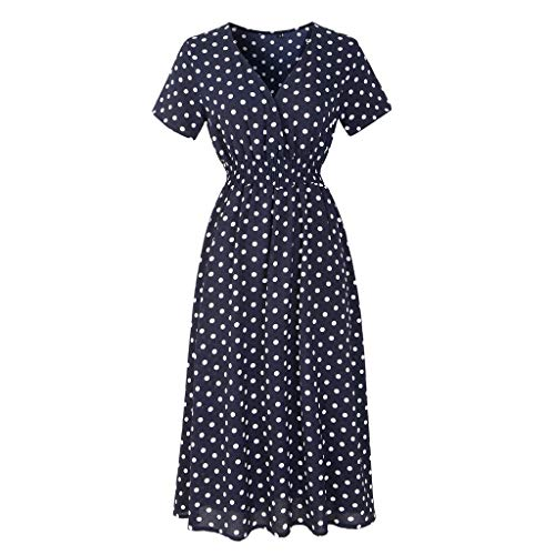 Women's Floral Short Sleeve V Neck Summer Beach Boho Chiffon Midi Dress Navy Polka dots L