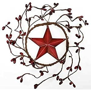 Set of 4 Decorative Burgundy Pip Berry Wreath with Burgundy Barn Star Center 117
