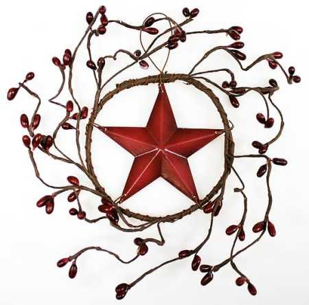 Set of 4 Decorative Burgundy Pip Berry Wreath with Burgundy Barn Star Center ()