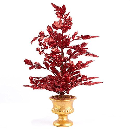 Factory Direct Craft Red Sparkling Artificial Holly Topiary with Gold Painted Base