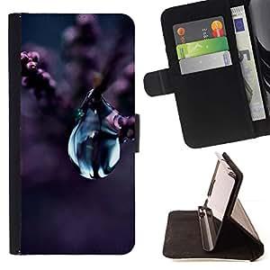 Momo Phone Case / Flip Funda de Cuero Case Cover - Flor de la gota del agua Naturaleza púrpura de la flor de la planta - Samsung Galaxy Core Prime