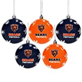 Chicago Bears 5 Pk Shatterproof Ball Ornaments