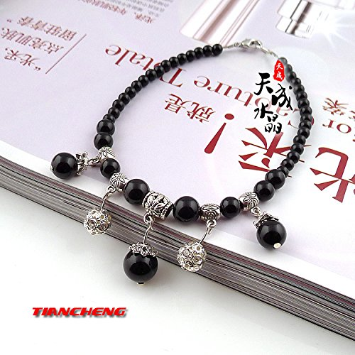 (usongs Tibetan silver black onyx transport natural crystal beads hanging Foot Chain anklet ankle chain evil beauty fashion simple classic)