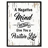 """nice office wall decorating ideas SpotColorArt A Negative Mind Will Never Give You Positive Life Framed Canvas Art, 7"""" x 9"""", White"""