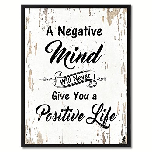 """SpotColorArt A Negative Mind Will Never Give You Positive Life Framed Canvas Art, 7"""" x 9"""", White"""