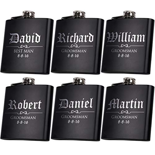 (Set of 6, Set of 3, Single - Personalized Flask, Groomsmen Gift, Customized Groomsman Flasks, Wedding Favors, Matte Black, Design 3)
