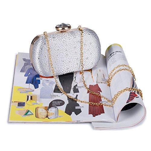 Silver Party Evening Clutch Bridal Handbag Elegant Purse Wedding Women's Crystal Chichitop wpBvqY