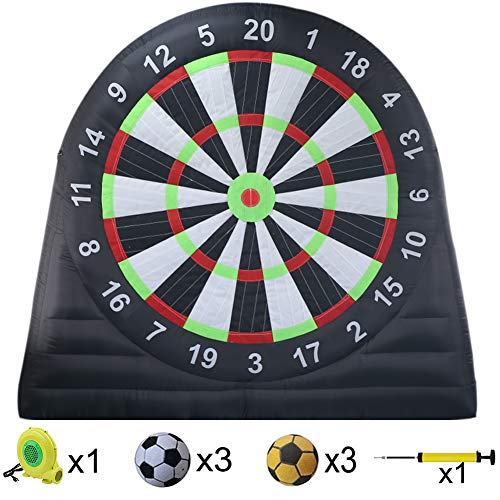 Sayok Outdoor Oxford Cloth Inflatable Soccer Darts Board with 6pcs Inflatable Balls for Sports Game(10ft Tall, Black)