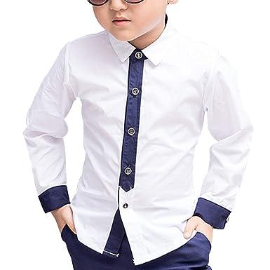 a8ccfec09c09d HiCollie ボーイズ シャツ 男の子 子供 卒業式 入学式 ワイシャツ 長袖 こども ワイシャツ 発表会 カジュアル
